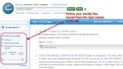 Refine Your Results (including check-boxes for scholarly and full-text and the date range function, has moved from the right column to the left.