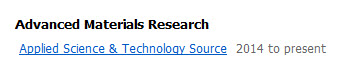 image of search results in journal finder