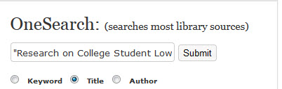 Image of OneSearch on library homepage