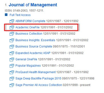 Image of the databases listed below a journal in the search results