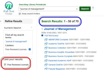 Image of Journal Finder search results with the journal title in quotes and peer reviewed journals checked as a search limiter