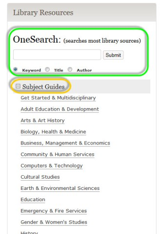 Image of the library homepage showing OneSearch and the Subject Guides