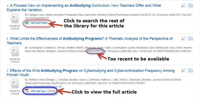 image of search results in Education Source