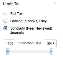Image of the option to check a box to limit search results to scholarly or peer reviewed when you have already done a search
