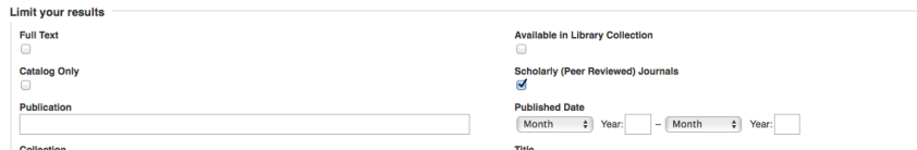 Image of advanced search option to check box for Scholarly or peer reviewed