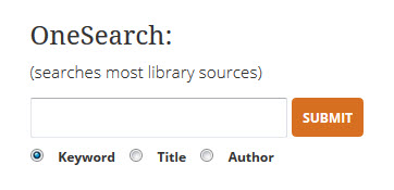 Image of OneSearch search box on the library homepage