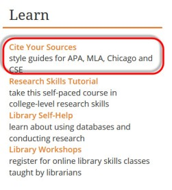 image of the library homepage link to select titled Cite Your Sources