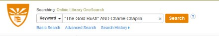 "Image of search box containing the words ""The Gold Rush"" in quotes AND in all caps and Charlie Chaplin"