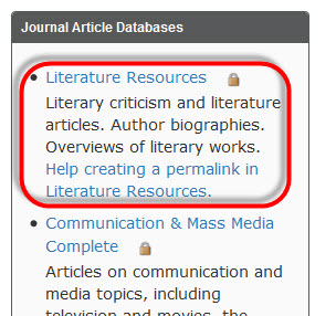 Image of the Literature Resources database link listed on the Language and Literature Subject Guide